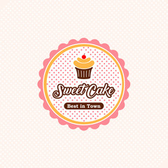sweet cake logo template. cake label design