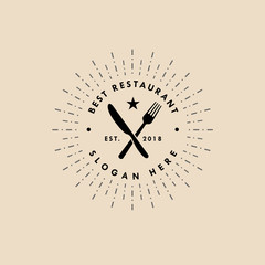 restaurant vector logo template in vintage  style