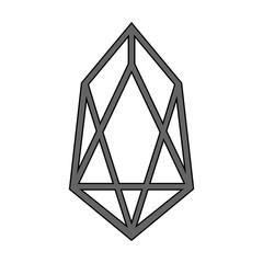 Crypto coin EOS icon on white.