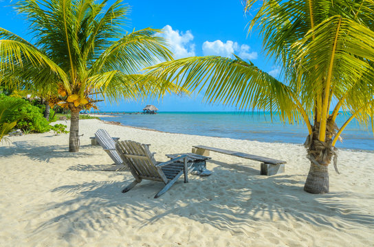 Paradise beach in Placencia, tropical coast of Belize, Caribbean Sea, Central America.