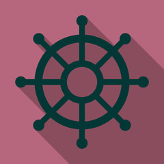Hand drawn illustration of ship's wheel in line art style with engraved elements.