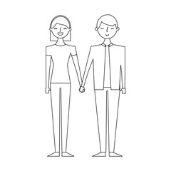 couple of young people characters vector illustration thin line