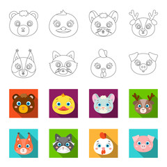 Protein, raccoon, chicken, pig. Animal s muzzle set collection icons in outline,flet style vector symbol stock illustration web.