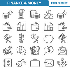 Finance and Money Icons. Professional, pixel perfect icons depicting various finance, money and currency concepts. EPS 8 format.