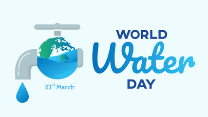 world water day with faucet  background  ,benner  , greeting card or poster for campaign save water