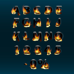 Hot letters and numbers on fire. Alphabet.Fire burning vector font. Part 1