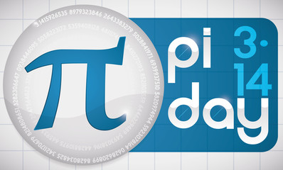 Pi Symbol over Blue Label with Sign for Pi Day, Vector Illustration