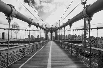 View of Brooklyn Bridge walkway, B&W, New York, USA