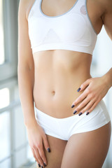 Closeup Of Beautiful Slim Woman Body With Sexy Buttocks, Big Ass