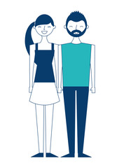 couple of young people characters vector illustration green and blue design