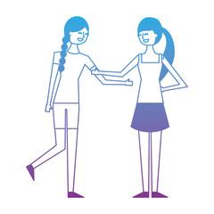 people character friends women together vector illustration degrade color design