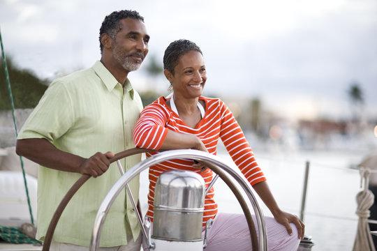 Couple on a yacht having fun.