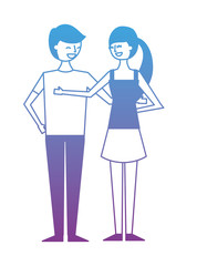 couple of young people characters vector illustration degrade color design