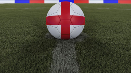soccer / football classic ball in the center of the field grass with painting of the England flag  with depth of field defocused, 3D illustration