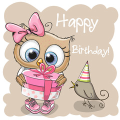 Cute Owl with gift on a beige background