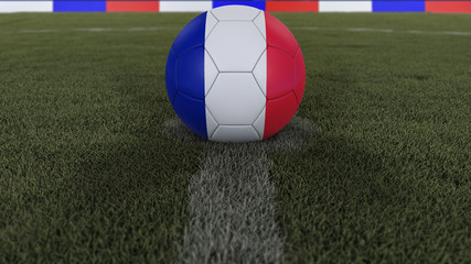 soccer / football classic ball in the center of the field grass with painting of the France flag with depth of field defocused, 3D illustration