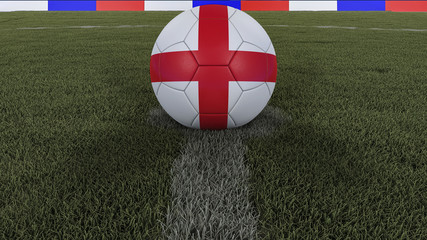 soccer / football classic ball in the center of the field grass with painting of the England flag with focus on the whole field, 3D illustration