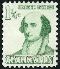 USA - 1965: USA shows Abraham Alfonse Albert Gallatin (1761-1849) American politician, Prominent Americans