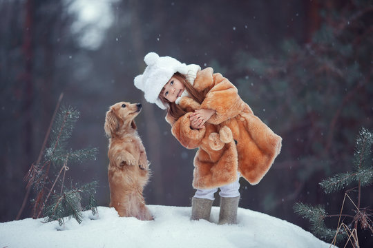 the girl and the Fox in winter