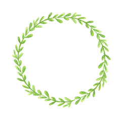 Watercolor hand painted wreath isolated on white background. Simple green wreath for your design.