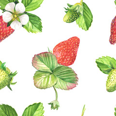 Strawberries watercolor seamless pattern. Hand drawn realistic leaves, berries and flowers on white background.