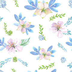 Floral watercolor seamless pattern. Hand drawn pinky flowers with blue leaves light background.