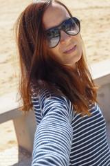 selfie in spring on the beach