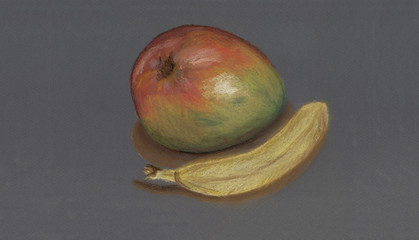 An art work of two fruits - a mango and a banana drawn with soft pastel on a neutral gray paper.
