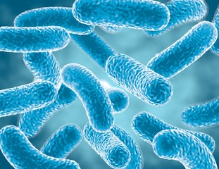 Blue bacteria cells, bacterial infection concept 3d rendering.