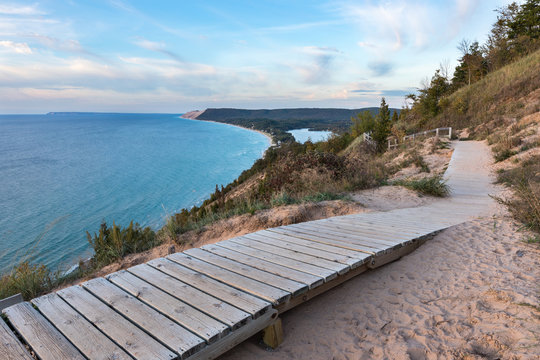 Sleeping Bear Dunes Overlook in Northern Michigan on Sunny Day