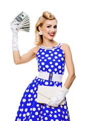 smiling woman with money, dressed in pin-up style