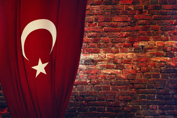 Turkey and the Turkish flag hanging down, 3d Scene Study