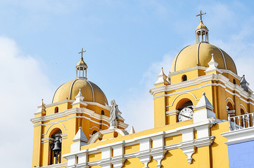 Beautiful yellow Cathedral in Trujillo, Peru