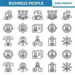 Business People Icons. Professional, pixel perfect icons depicting various business people ( men and women ) concepts. EPS 8 format.