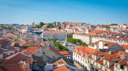 Lisbonne Lisboa La place du Rossio Dom Pedro IV