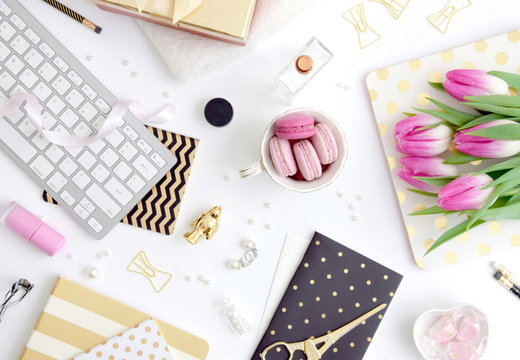Styled desk scene - flatlay with pink tulips