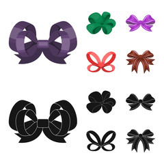 Ornamentals, frippery, finery and other web icon in cartoon,black style.Bow, ribbon, decoration, icons in set collection.