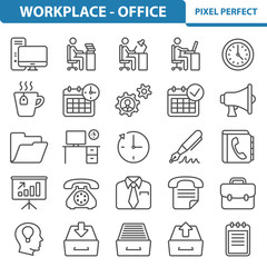 Office and Workplace Icons, Professional, pixel perfect icons depicting various office, job, career and workplace concepts. EPS 8 format.