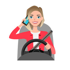 woman driving a car talking on the phone