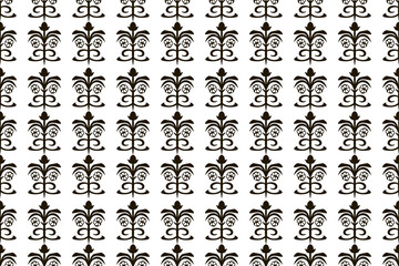 Black and white floral line vector vertical seamless pattern