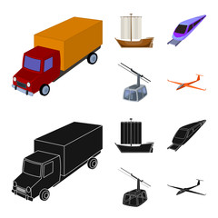 The truck, the boat, the subway, the funicular modes of transport. Transport set collection icons in cartoon,black style vector symbol stock illustration web.