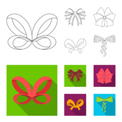 Bow, ribbon, decoration, and other web icon in outline,flat style. Gift, bows, node, icons in set collection.