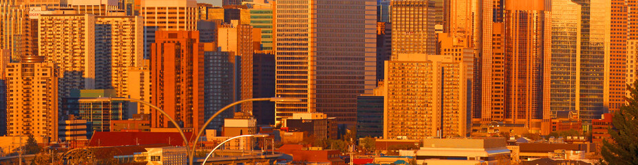 CALGARY, ALBERTA, CANADA - September 29 , 2017 - View of the Calgary, Alberta skyline under evening sun light