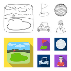Field with a hole and a flag, a golf ball, a golfer, an electric golf cart.Golf club set collection icons in outline,flat style vector symbol stock illustration web.