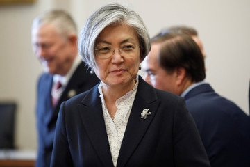 South Korean Foreign Minister Kang Kyung-wha arrives to meet with the House Committee on Foreign Affairs in Washington