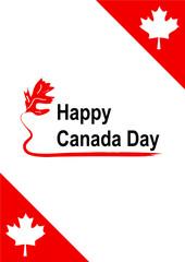 Grußkarte in rot-weiß zum Kanada Tag, Vector