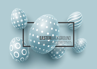 Abstract Easter blue background. Decorative 3d eggs with frame. Vector illustration.