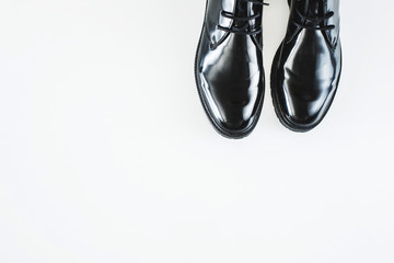 Black male shoes on white background