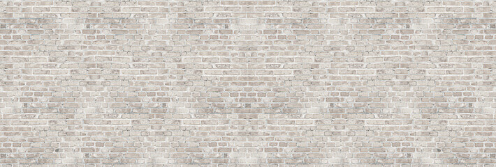 Spoed Fotobehang Baksteen muur Vintage white wash brick wall texture for design. Panoramic background for your text or image.