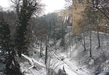View of Prague castle's moat under the snow, Czech Republic